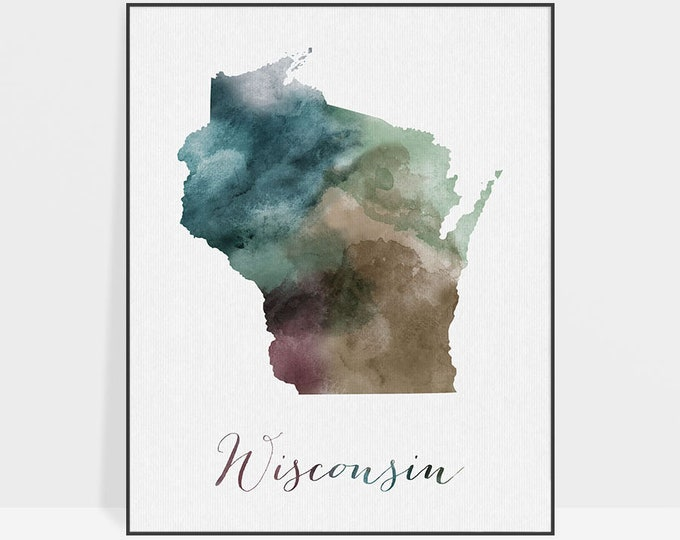 Wisconsin state map print, Watercolor map, Wall art, Wisconsin map poster, Wisconsin state watercolor print fine art print ArtPrintsVicky