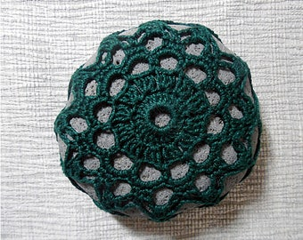 Forest Green Flower Sea Stone Paperweight crocheted lace fiber art