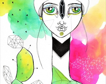 Rainbow Cactus Girl - Original Watercolor Abstract Woman Painting