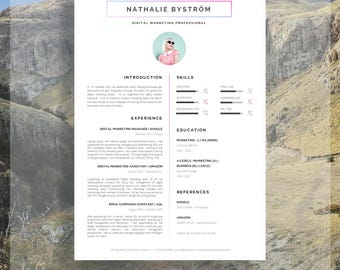 "Creative CV Template for Word | Résumé Template for Word + Cover Letter + Advice | Instant Download | Mac or PC | The ""Compton"" CV Template"