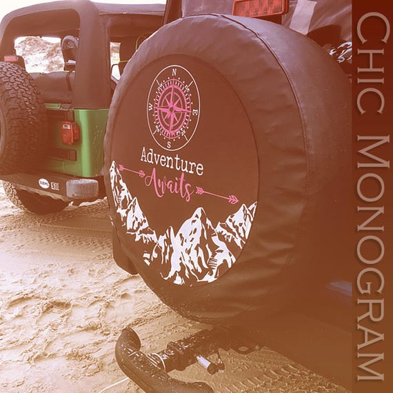 Adventure Awaits Tire Cover Mountains Compass Arrows Pink Jeep Spare Tire Cover Custom Jeep Wrangler Accessories Jeep Tire Cover Adventure