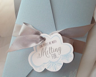 You're Worth Melting For... Hand-Cut Glitter Pocket Style Wedding Invitation - Sample