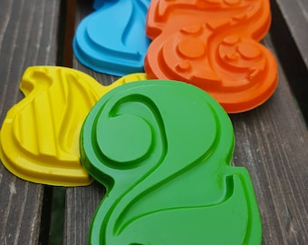 Number 2 Two Crayons set of 20 - 2nd Birthday Party Favors - Number Crayons - 2nd Birthday - Second Birthday Favors - Numbers