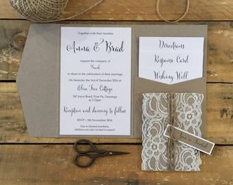 Rustic Lace Wedding Invitation Pocketfold -  SAMPLE