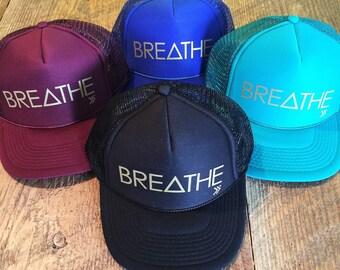 BREATHE snapback trucker hat w/matte gold letters ONE SIZE, baseball, yoga, pilates, barre, workout hat