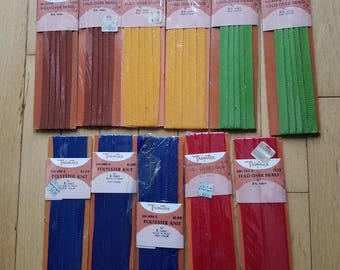 Assorted Fold-Over Braid Trim - 11 carded pieces - Vintage