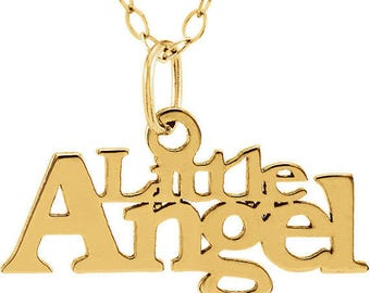 """14K Yellow """"Little Angel"""" Youth Necklace Or Adult Choker"""