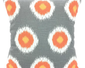 SALE Orange Gray White Pillow Covers, Decorative Throw Pillows Cushions Orange Grey White Charcoal Ikat Domino Euro Sham Couch Bed ALL SIZES
