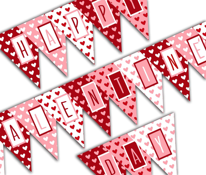 Valentines Day Banner Happy Valentines Day Banner Valentine Happy Valentines Day Banner Printable