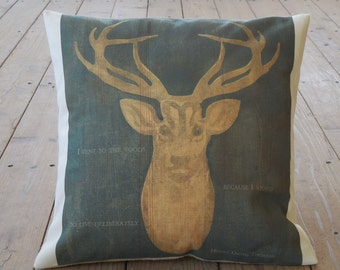 Deer Quote Burlap and Canvas Pillow, Shabby Chic, Lodge, Rustic Cabin, Farmhouse Pillows, Wild8,  INSERT INCLUDED
