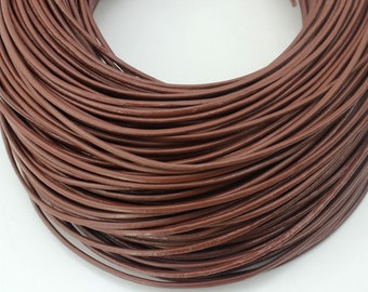 2mm Light coffee brown Leather Cord, 2mm, Genuine Leather Cord, Round Leather Cord, Lead Free Leather Cord--PS105