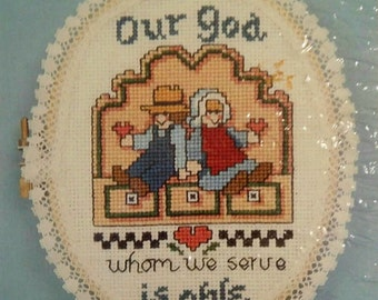 Counted Cross Stitch Kit Rare Vintage God is Able Little Hoops by Jeremiah Junction Designer Linda Coleman