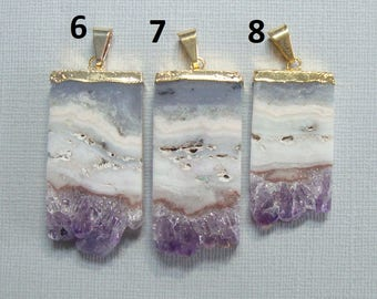 Amethyst Slice Gold Electroplated Pendant, Vertical Amethyst Slice Gold Pendant, m1