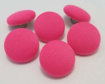 Fabric Buttons, Hot Pink Buttons, Shank Buttons, Pinback Buttons, Brooch Pin, Handmade Covered Buttons, Sewing Buttons, Pin Buttons, Cosplay