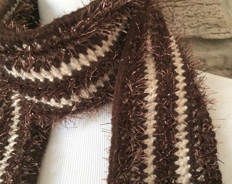 Brown and beige scarf, crochet scarf, fashion scarf, brown scarf, womens scarf, ladies scarf