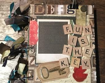 Fun Is The Key-Scrapbook Paper Bag Album-One of A Kind-Unique-Mini Album