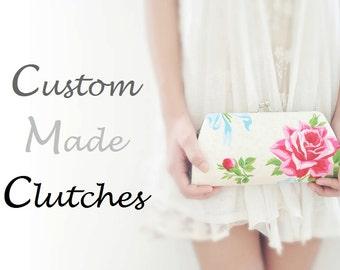 CUSTOM MADE cotton clutch - Create a Custom Bridesmaid Clutch in your choice of fabric