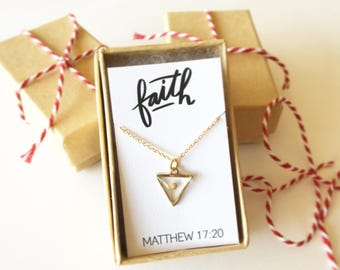 Mustard Seed Necklace, Faith necklace, Christian necklace, triangle charm, baptism, confirmation, mustardseed, minimal, graduation gift