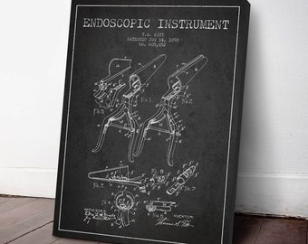 1898 Endoscopic Instrument Canvas Art Print, Endoscope Print, Medical Patent, Wall Art, Home Decor, Gift Idea, ME87C