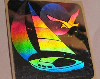 SALE Sandylion Hologram Vintage Sailboat and Seagull Sticker - 80s Retro Holographic Sea Ocean Boat Gull Sun
