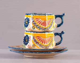 Cups and saucers Henriot Quimper   Coffee Cup   Pink Corbeille design   Breton Tea Cup   Quimperware   Quimper Pottery   HB Quimper  