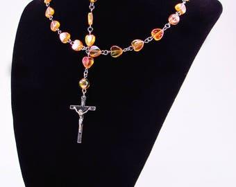 Rosary, Acrylic AB Orange Hearts, Religious, Spiritual, Catholic, Cross, Christian, Prayer Beads, Necklace