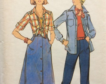 Butterick 4645 junior misses shirt, skirt and pants size 11/12 bust 32 waist 25 vintage 1970's sewing pattern