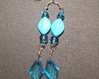 Brilliant Blue Beaded Dangle Earrings in Silver