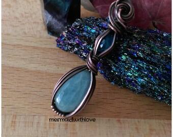 Aquamarine and Neon Blue Apatite in Antiqued Copper