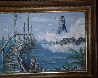 Small Vintage Oil On Board/ Signed/Light House/ Ocean Waves/ Sea Gulls/Wood Bridge/ Rocks/  Signed Ree
