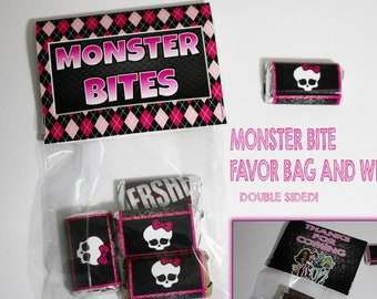 Monster High Birthday Party Favor Bags and Candy Wraps