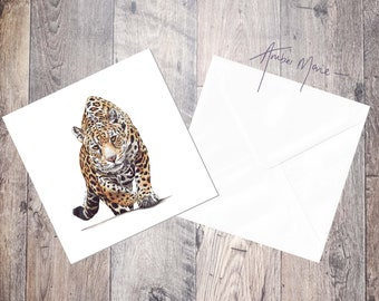 Jaguar / Spotted Cat / Big Cat / Leopard Greeting Card / Blank Inside