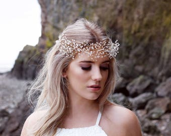 Bridal headpiece, bridal wreath, headdress, boho crown, hair vine, wedding hair accessories, gold, rose gold, silver, boho bride, statement