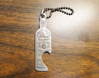 Teacher's Highland Cream Whiskey Bottle Opener Key Chain Teacher's Scotch Whiskey Advertising Bottle Opener Key Chain Teachers Bottle Opener