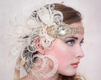 Clapet bandeau nymphe Or Antique bandeau de plume de paon Ivoire, Gatsby le magnifique de Style