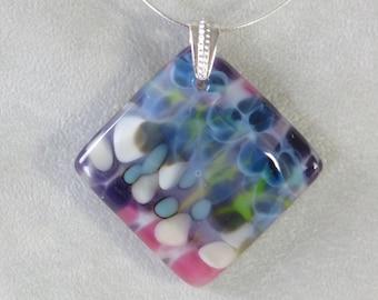 Fused art glass pebble pendant