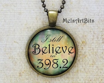 I Still Believe in 398.2, Fairy Tales and Folklore Library, Dewey Decimal Number, Antique Gold Whimsical Pendant Necklace