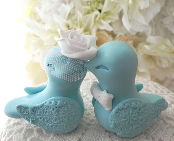 Love Bird Wedding Cake Topper, Aqua and White, Bride and Groom Keepsake