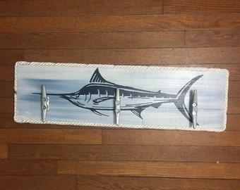 Marlin Cleat Rack, Nautical Cleat Rack, Patio Hooks, Dock Cleat Rack, Coastal Decor, Pool towel hooks