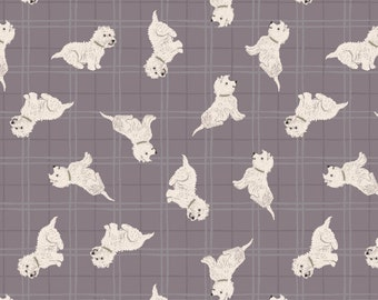 Fat Quarter Tumbled Westies Warm Grey Check Dogs 100% Cotton Quilting Fabric