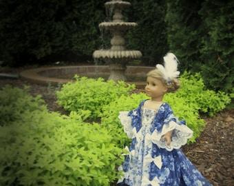 """Midnight Blue Rococo Fantasy -- 18th Century Rococo Ensemble for 18"""" Doll, i.e., American Girl, et al (aka Marie Antoinette Dress)"""