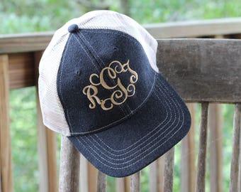 Monogram hat - Women's embroidered baseball hat - Monogram embroidered hat - Monogrammed trucked hat - Embroidered trucker hat - Denim hat