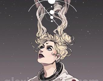 Sailor Moon Gold Foil Astronaut Poster Print