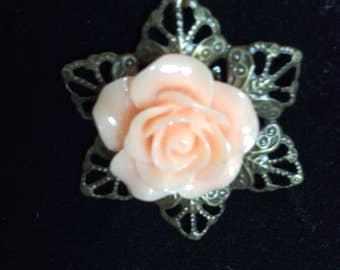 Blush rose pendant necklace