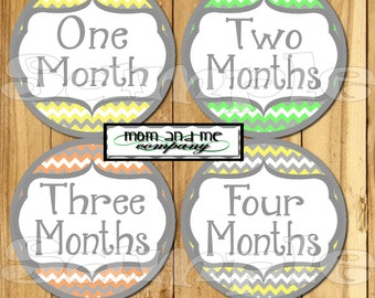 Baby Monthly Stickers Baby Shower gift 1- 12 Month stickers Infant Month stickers Neutral gender Milestone stickers Month to Month stickers