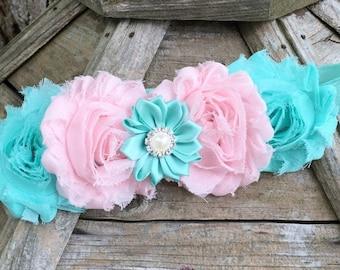 Aqua And  Pink Shabby Chic Headband, Baby Girl, Toddler And Adult Headband, Chic Headband, Fabric Flower Headband, Flower Girl Headband