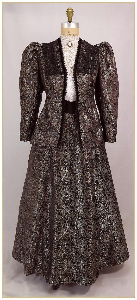 Victorian Skirts | Bustle, Walking, Edwardian Skirts Paisley Satin Victorian Skirt $98.00 AT vintagedancer.com