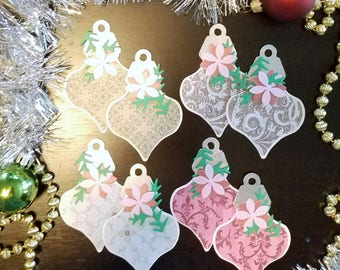 Ornament Tag Design 01 with Flower Dk Pink & Lt Pink Embellishment Holiday Shape 01 Gift Tags Set of 8