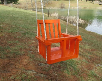 Child's (Toddler's)oak wood painted  porch swing (real orange)