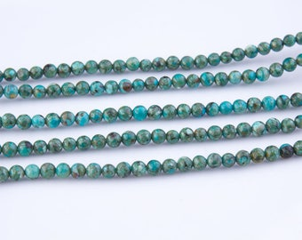 2mm Round Natural Turquoise Beads, Semi-Precious Gemstones, Turquoise Bead Strands, Loose Beads, Center Drilled, Priced per Strand, TUR06